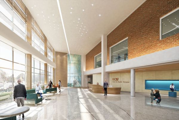 new lobby digital rendering for streator's new OSF health center